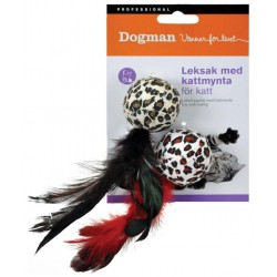 Leopardball med fjær 2-pack